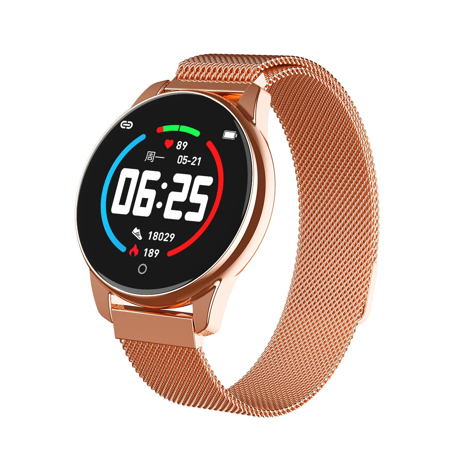 Bakeey HD Color Screen 24-hour HR Blood Pressure Monitor Remote Camera Business Style Smart Watch