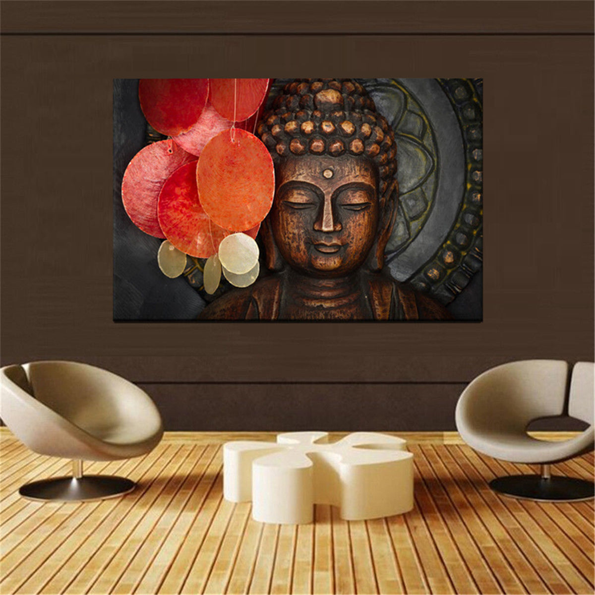 HD Statue Meditation Painting Print on Cambric Home Room Wall Sticker Art Decor
