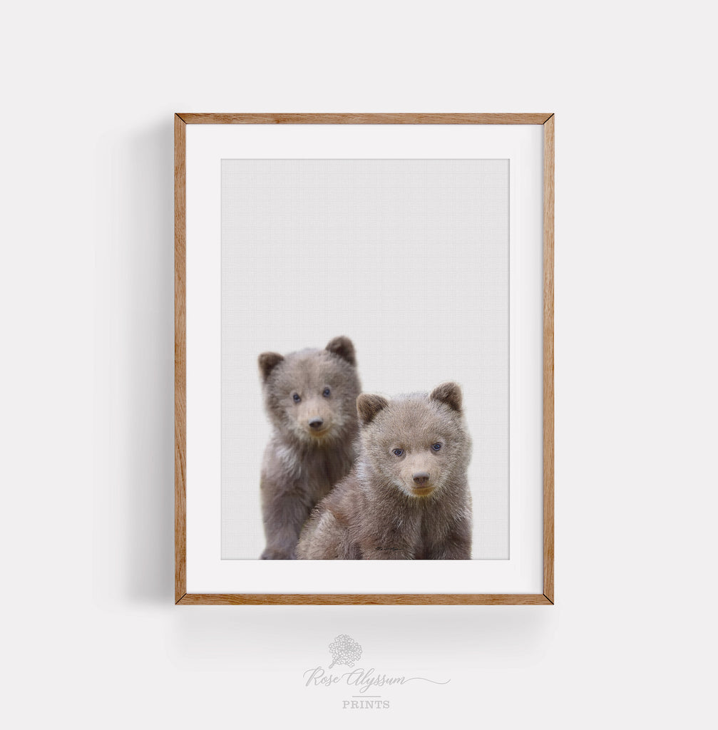Twin baby bear print art, baby bear digital download P0021