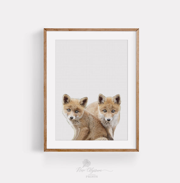 Twin baby fox print art, twin fox baby wall decor - P0023