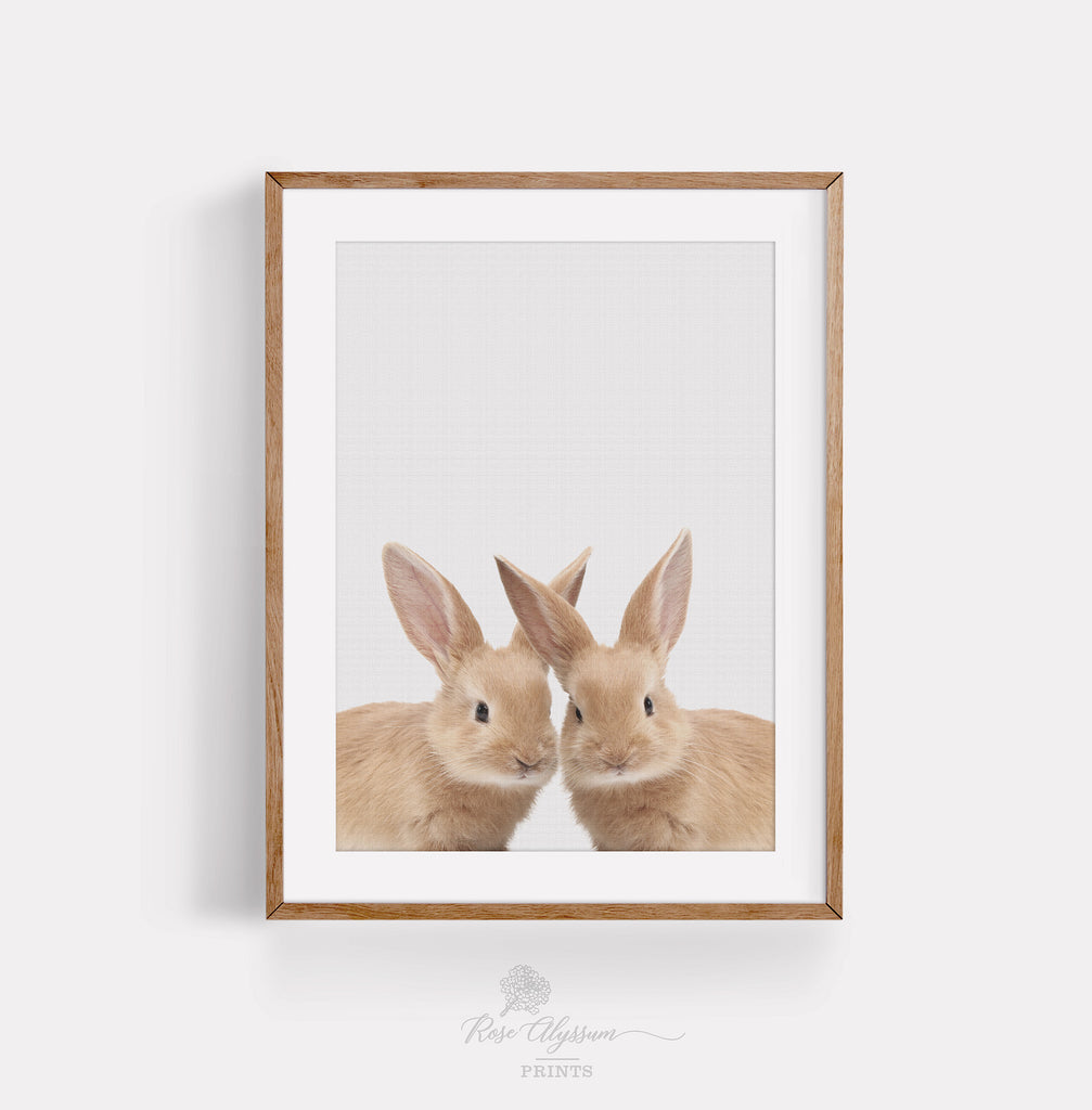 Twin rabbit baby print art, baby bunny wall poster - P0025