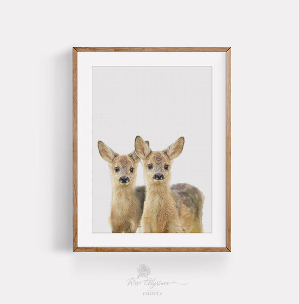 Twin baby deer print art, baby deer twin wall art, deer baby wall decor - P0030
