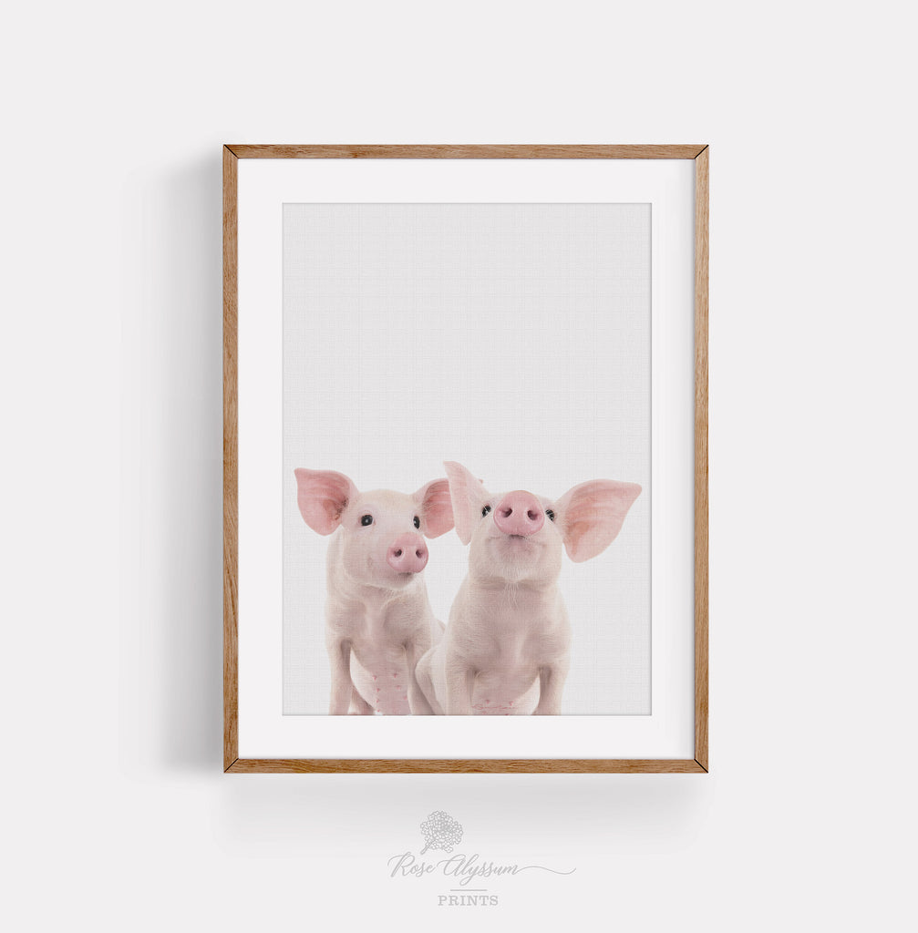 Cute twin pig baby print art P0032