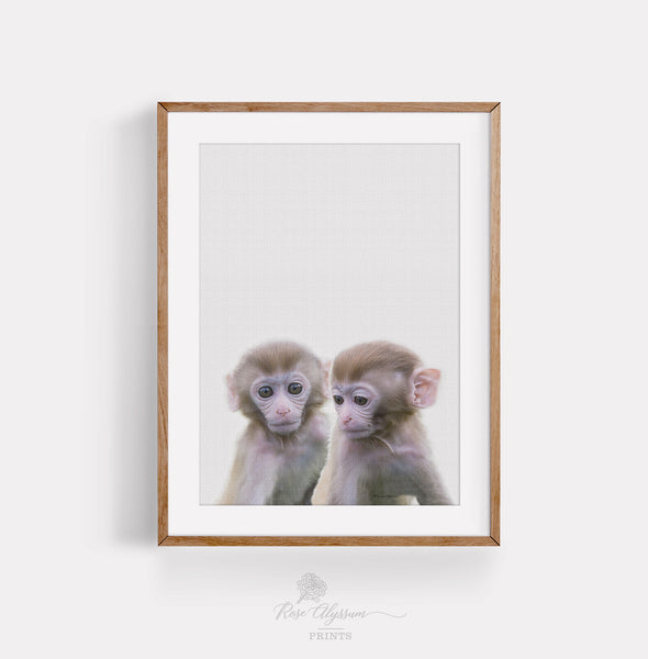 Twin monkey baby print art gallery art, twin baby monkey wall decor, monkey printable art - P0033