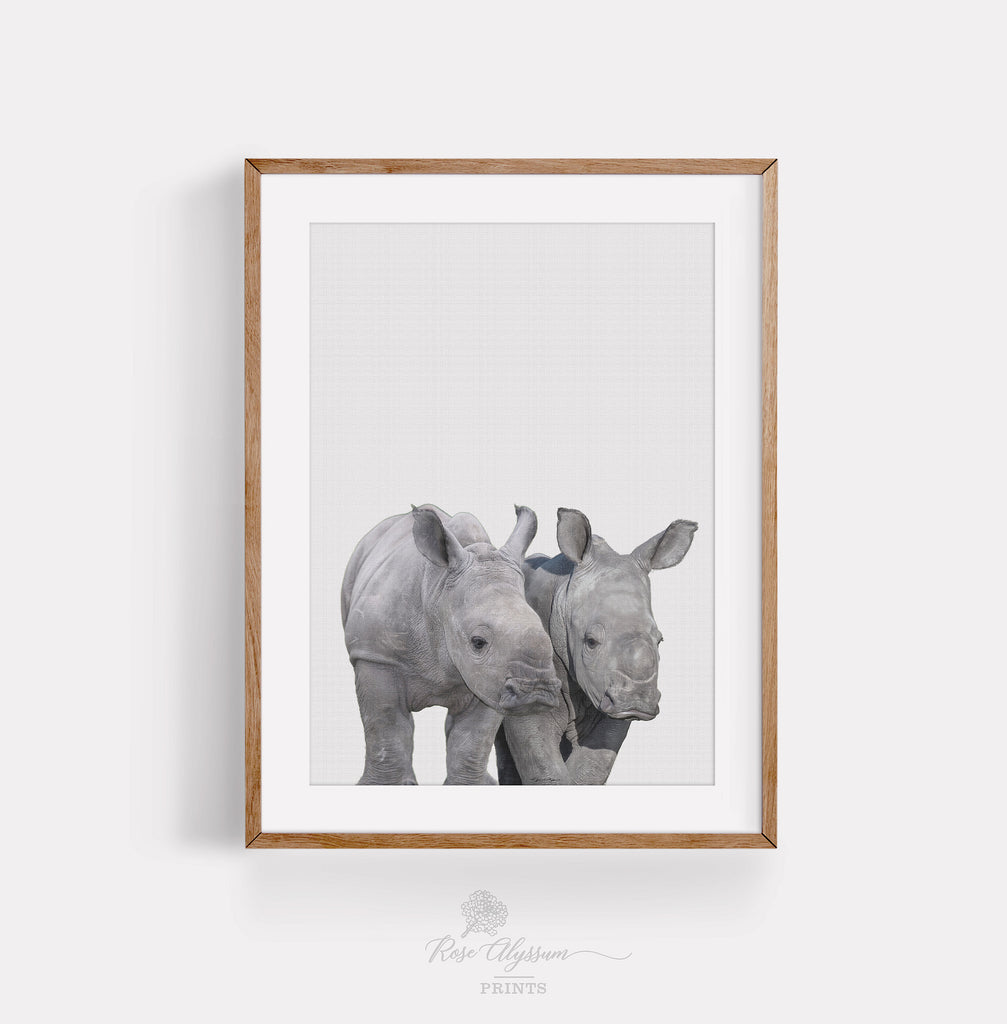 Twin baby rhinoceros print art, twin rhino baby wall art - P0034