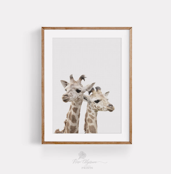 Twin baby giraffe print art, cute kid giraffe wall art - P0037