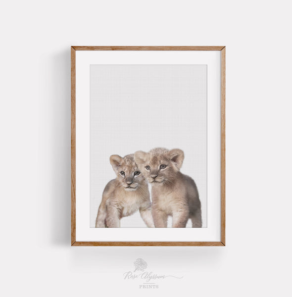 Twin baby lion print art, twin lion baby wall art, lion baby digital art - P0039