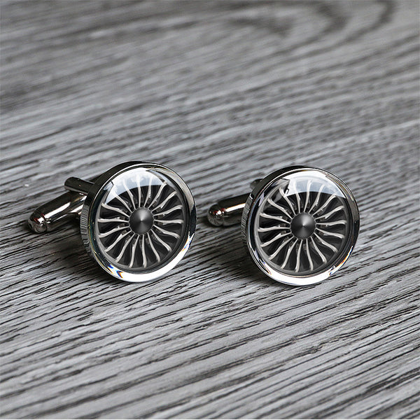 Plane engine cufflinks airplane jet cuff links accessories gift for pilot birthday gift for flight attendants C0019N - ShimmerAge