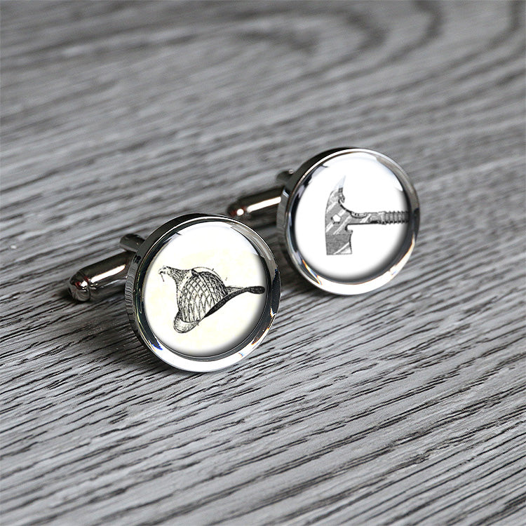 Vintage fireman hat and axe cufflinks birthday gift for firemen custom stamped on back C0286N - ShimmerAge