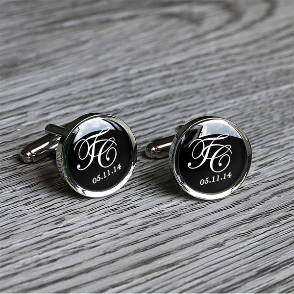 Handmade floral script infinity cuff links. can custom engraved on back C0535I
