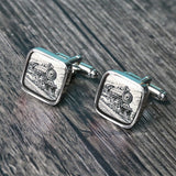 Vintage train cufflinks steam locomotive cuff links can engraved on back C0624NS - ShimmerAge