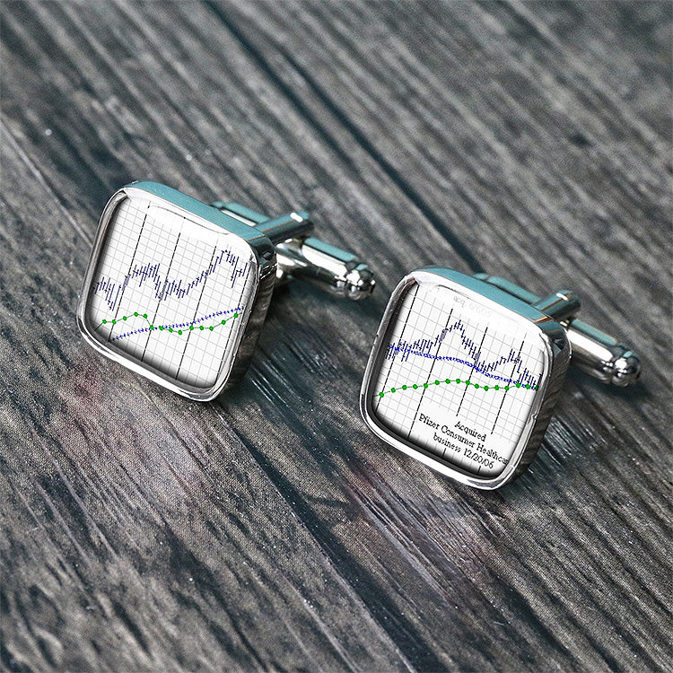 Bull market bear market stock trader cuff links - C3036NS