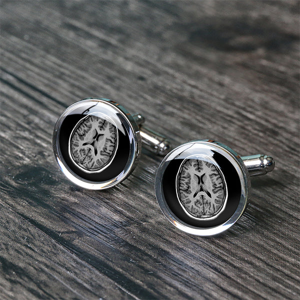 CT brain cufflinks birthday gift for doctor can engraved back C3074N - ShimmerAge