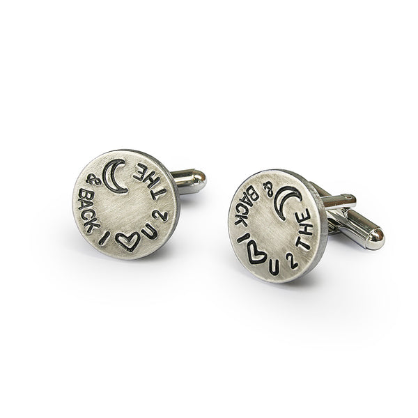 I love you to the moon and back engraved cufflinks birthday gift ideas for him anniversary C5004N - ShimmerAge