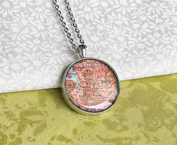 Antique 1950 Washington state map pendant necklaces - M1904CP - ShimmerAge