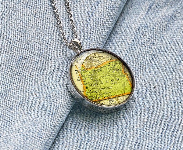 Oregon map necklaces, Oregon map pendant jewelry M1905CP - ShimmerAge