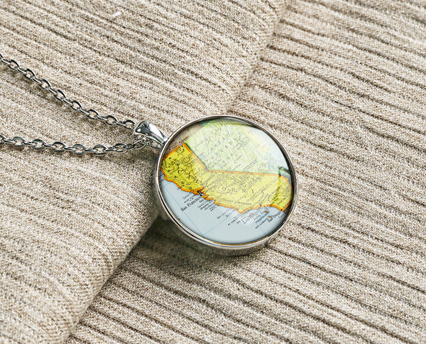 Old California state map necklaces jewelry M1906CP - ShimmerAge
