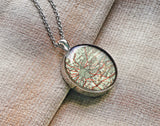 Antique 1920 London map necklace, UK map resin pendant, London photo necklace - M4005CP - ShimmerAge