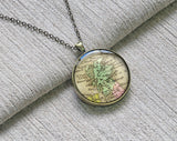 1833 Scotland map necklace, Vintage Scotrland map pendant key ring - M4034CP - ShimmerAge
