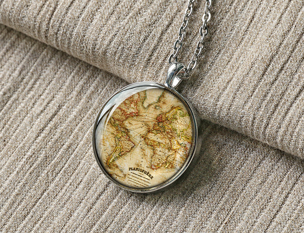 Handmade vintage 1867 World map necklace, custom tag and engraved services M8014CP - ShimmerAge