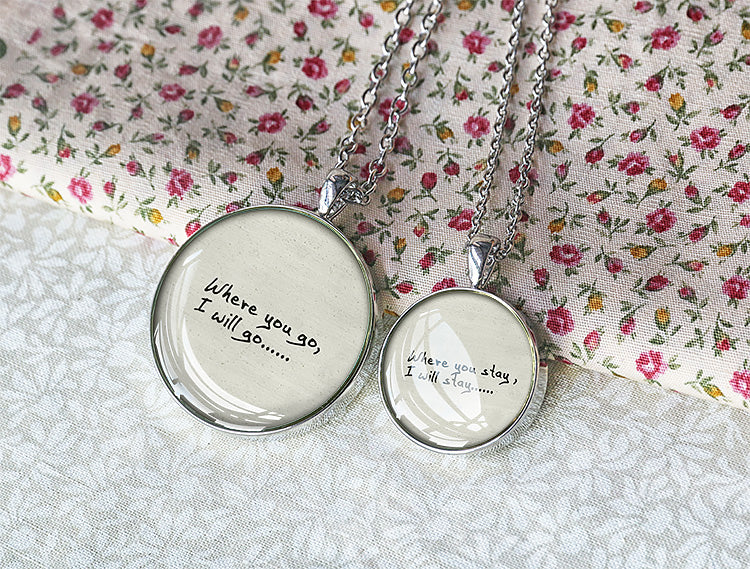 Custom quote necklace set, couple quote necklace - Q0001 - ShimmerAge