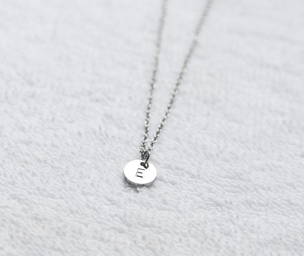 Hand stamped initial necklace custom alphabet necklace - S0001 - ShimmerAge
