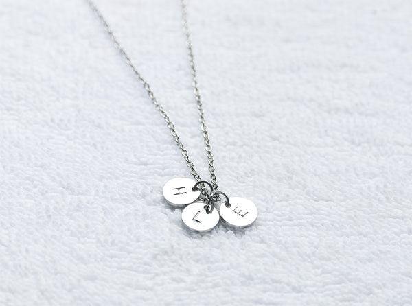 Hand stamped 3 initial disc necklace custom monogrammed necklace personalized disc engraved necklace for kid gift for mother - S0003 - ShimmerAge