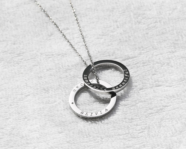 Hand engraved 2 circle necklace, custom stamped 2 ring necklace - S0012 - ShimmerAge