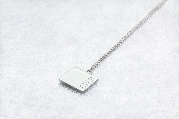 1925 Greece map necklace, double-sided necklace, map side / custom engraved side, stainless steel square necklace M4751SP - ShimmerAge