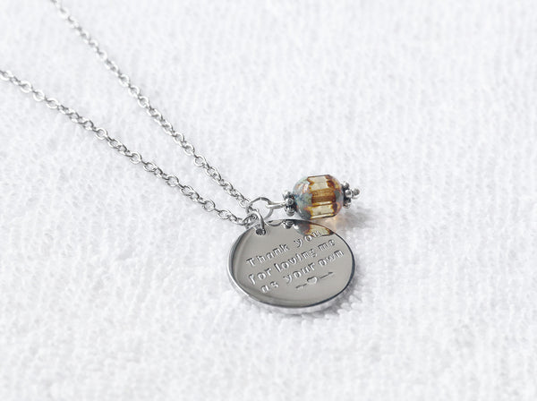 Custom hand stamp circle disc necklace with brown topaz bead, personalized circle disc necklace - S0150 - ShimmerAge