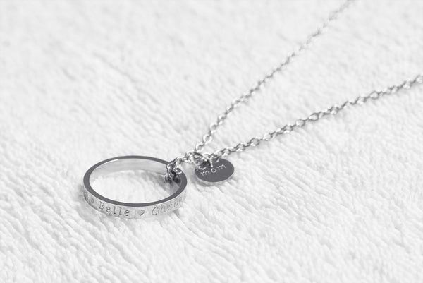 Hand engraved ring necklace,custom stamped circle necklace, stainless steel ring and disc - S0200 - ShimmerAge