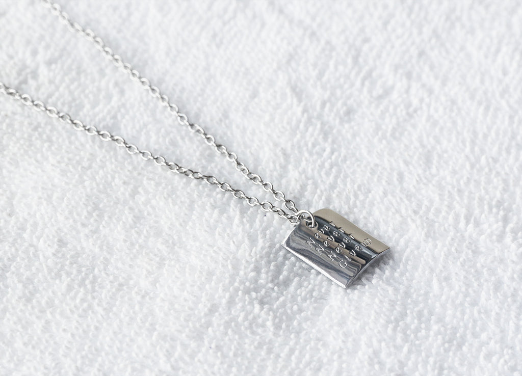 Hand engraved bent rectangle necklace, custom stamped radian square necklace - S0250 - ShimmerAge