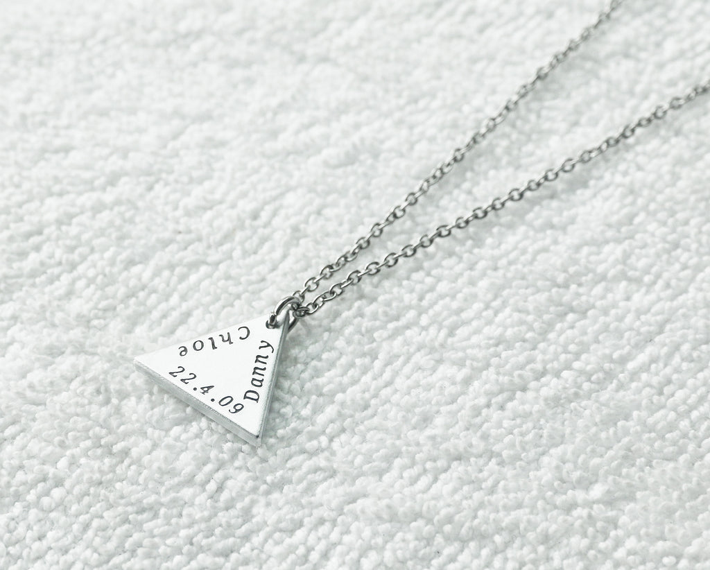 Hand stamped triangle necklace,triangle jewelry,custom engraved aluminum pendant,triangle pendant necklace,special gift for her - S0401 - ShimmerAge