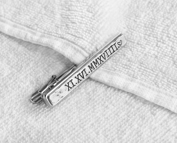 Hand engraved roman numeral date tie clip - T8006N