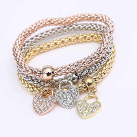 Heart Charm Bracelets with Austrian Crystals