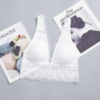 Deep-V Breathable Lace Bra