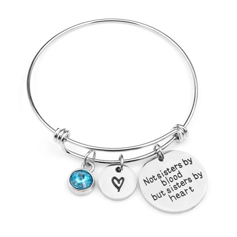 "Birthstone Bracelet ""Not Sisters By Blood But Sisters By Heart"""