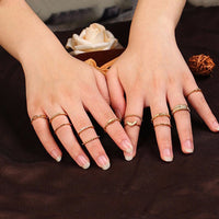 12 Piece Stack Boho Crystal Rings