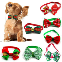 Christmas Cat Dog Adjustable Bow Tie Collar