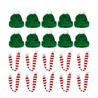 10pcs Stylish Xmas Mini Scarf And Hat Decor Doll Clothes Accessory Creative Plants Adornment For Festival Christmas Party