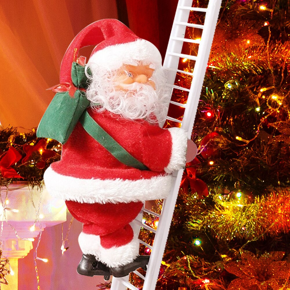 Christmas Doll Electric Santa Claus Climbing Ladder