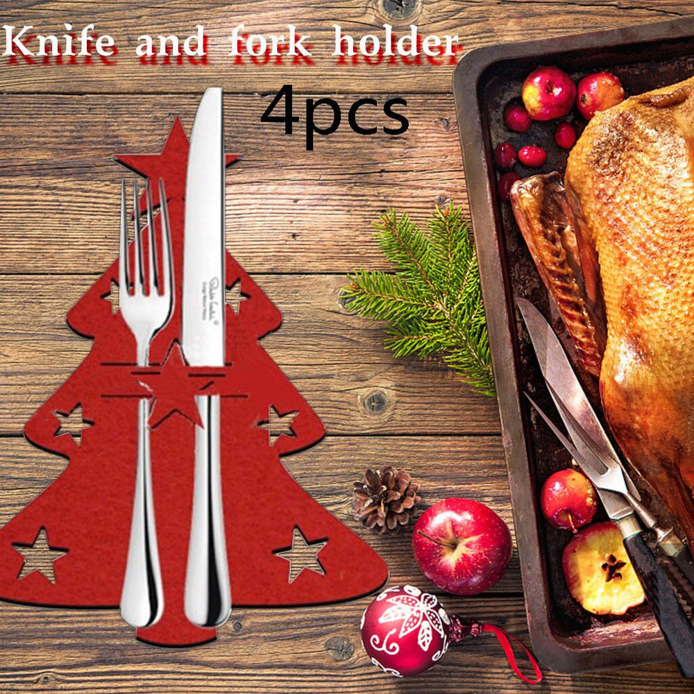 Christmas Tree Cutlery Knife and Fork Cover
