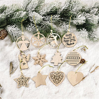 12pcs Wooden Christmas Pendants for Home Decorations