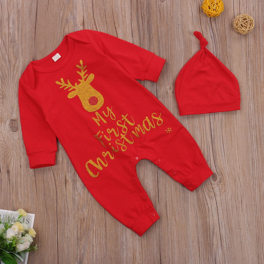 2Pcs Set Cartoon Deer MY FIRST CHRISTMAS Letter Print