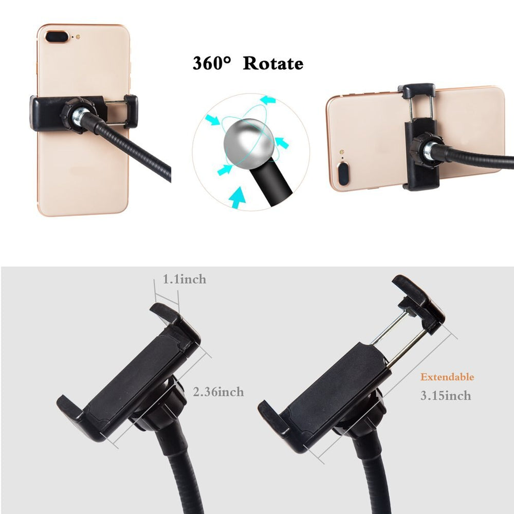 2-in-1 Phone Holder with LED Ring Light
