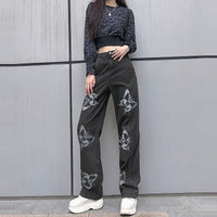 Butterfly Print Cowboy Jeans