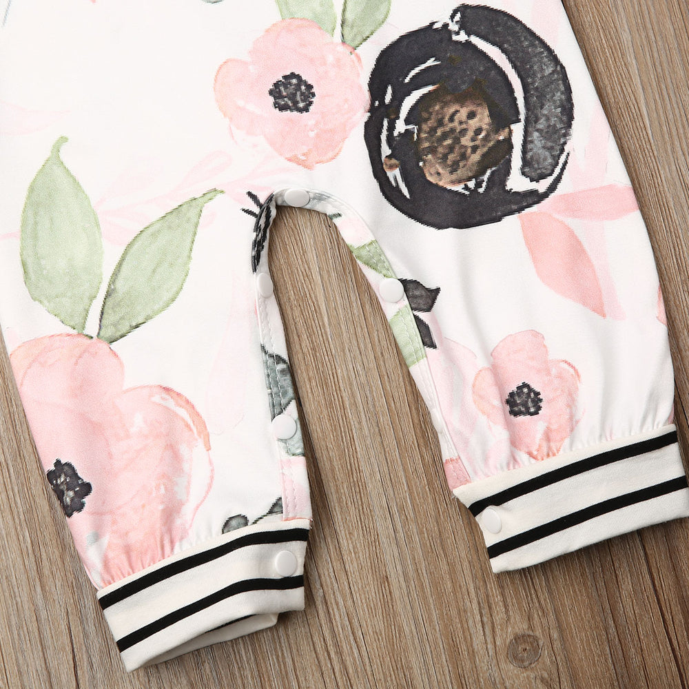 Flower and Stripes Baby Jumpsuit