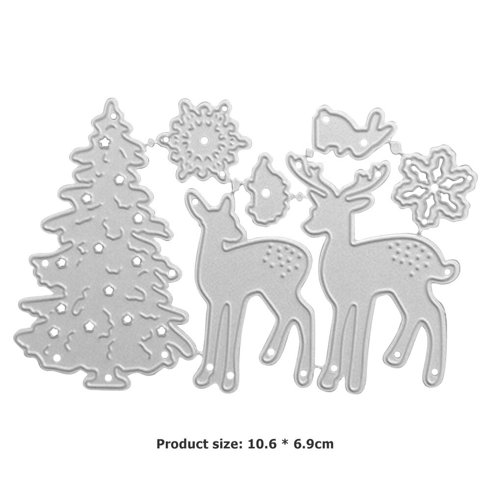 Metal Elk Christmas Tree Cutting Stencils for DIY Scrapbooking Photo Album