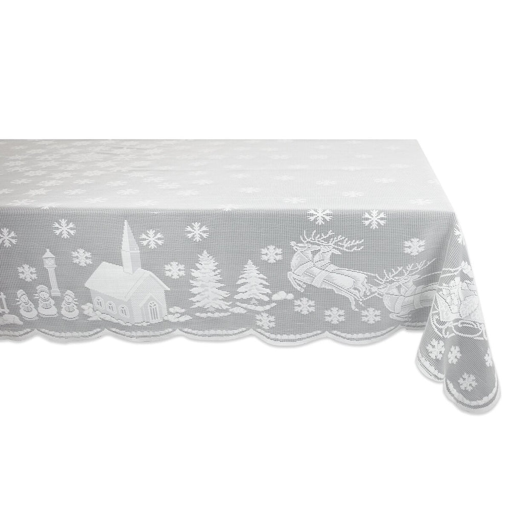 Christmas Lace Embroidery Snowflake Elk Tablecloth