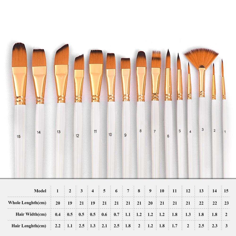 Artist Paint brush Set - 15 Brushes